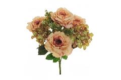 N 1 Bush Rosa Regina Ortensia X 9 H. 47 Cm Artificiale
