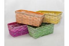 8 Vaschette Colorate In Legno Foderato In Cellophane 25x12x11 Cm