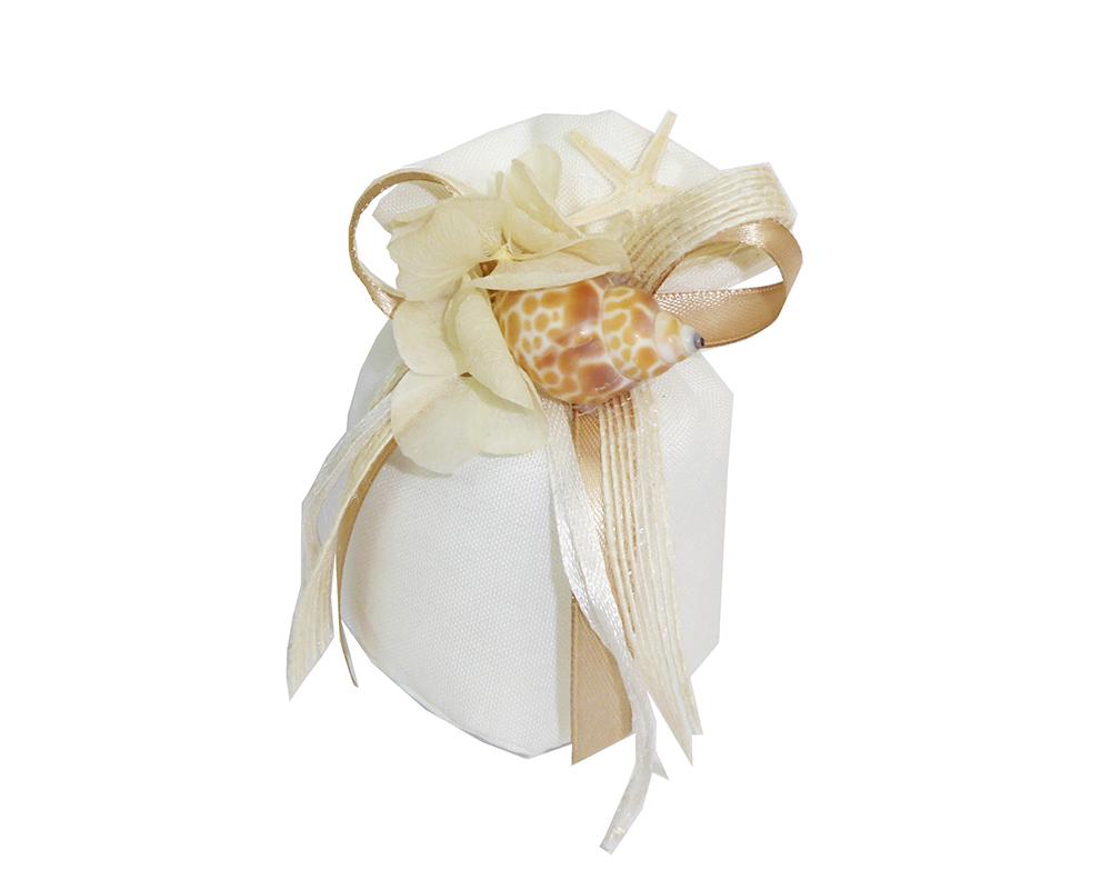 Bomboniera Sacchetto Mare Conchiglia Fiore Stella