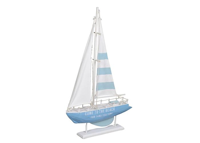 Barca mare in legno bianco azzurro con luci led 27x5 5xh.44 5 cm
