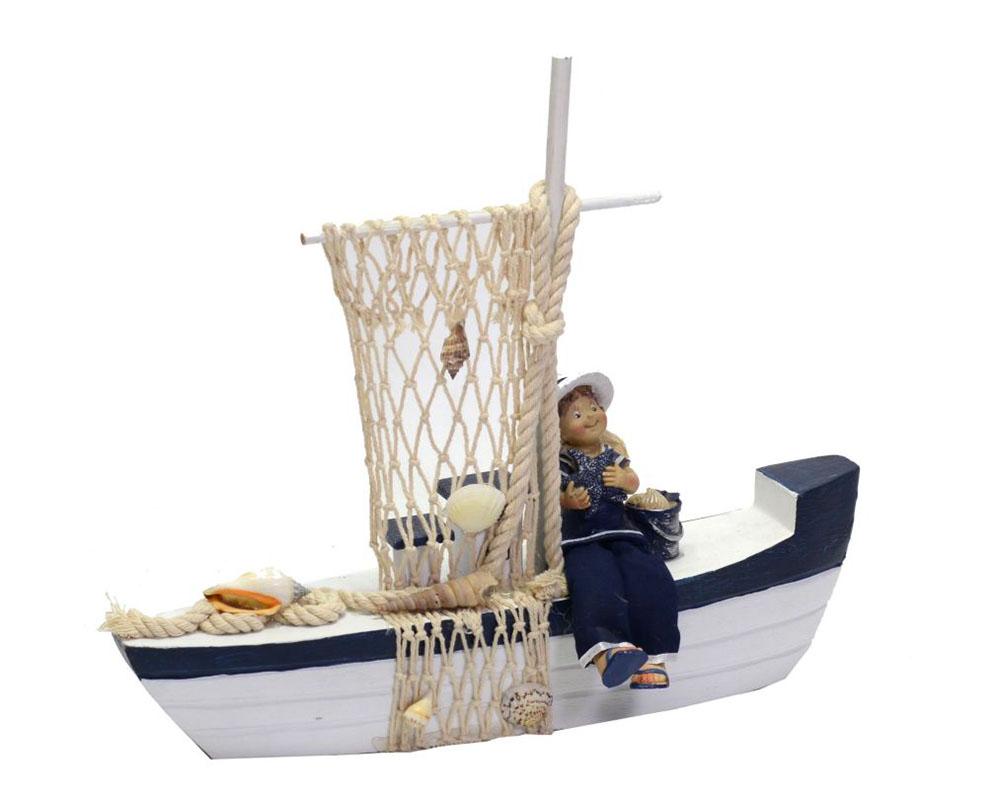 Decorazione Arredo Mare Barca Legno Con Marinaio CM33X6,5H28,5