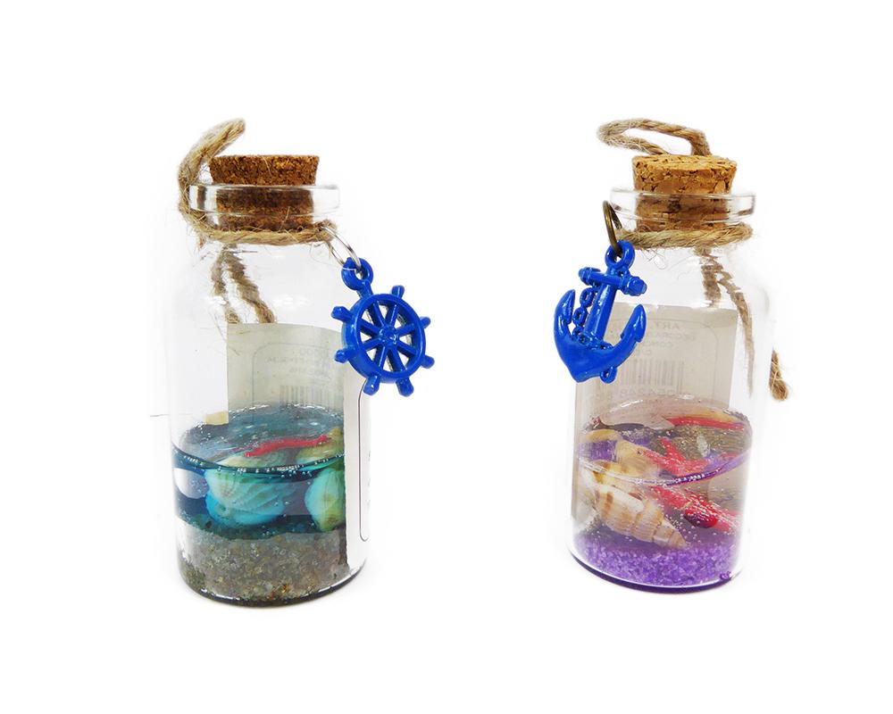 Bottigliette Conchiglie Pz 20 In Vetro 6 Cm Con Timone E Ancora Linea Mare