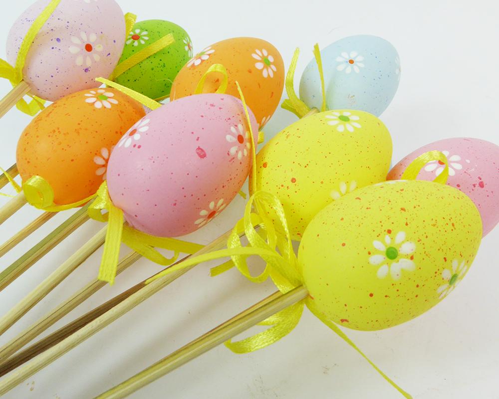 Pz 12 Pick Uovo Medio Con Fiori 5 Cm Decorazione Addobbi Primavera Pasqua