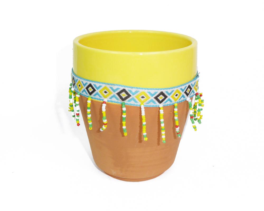 Vaso Peru Con Perline Medio D 9,5 H 12,5 Decorazioni E Addobbi