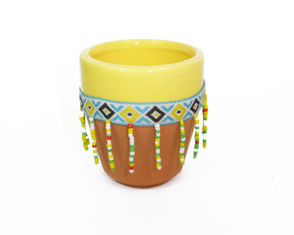 Vaso Peru Con Perline D. 7,5 H. 8,5 Addobbi E Decorazioni