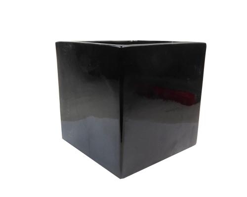 Cubo Ceramica 16,5x16,5x16,5 Nero Composizioni Floreali