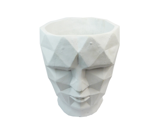 Vaso Testa Uomo Cemento Bianco Grande