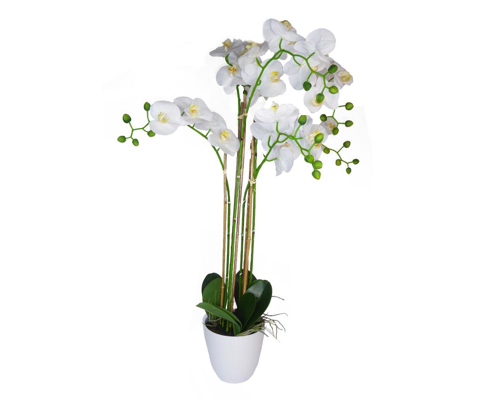 Pianta Orchidea Cm 113 Artificiale Con Vado Bianco Ceramica Arredo