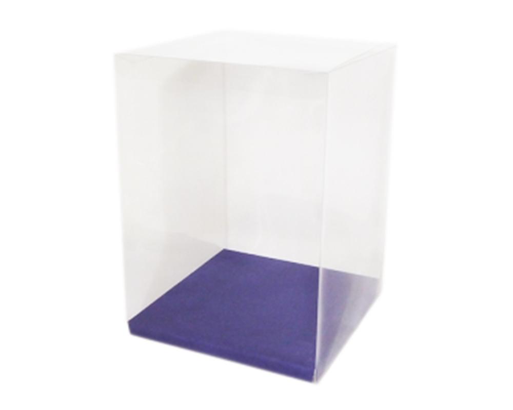 Scatola Trasparente 25x25x30 Cm PVC Fondo Blu Da Montare Bomboniere