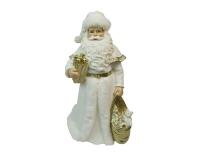 Babbo Natale Plumage Bianco Oro H. 31 Decorazione Natalizia