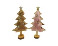 Albero Legno Pelliccia Con Stelle Pz 1 Decorazione Natale