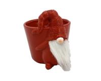 Vaso Gnomo Rosso D.15 H.14 Neve Composizione Floreale Natale