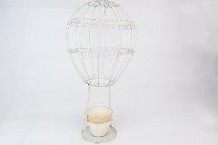 Fioriera Mongolfiera Metallo Cm 56 Con Vaso Terracotta Bianco/beige
