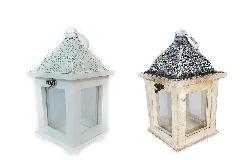 Lanterna Legno Metallo E Vetro 11,5x11,5xH.25,5 Cm Arredo Decorazione Casa