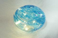 Sfera Vetro Blu Luci Led D.16 Cm Decorazione Arredo Regalo