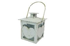 Lanternina Cuore 6x6x11,5 Cm In Metallo Effetto Shabby Vetrata Arredo Bomboniere