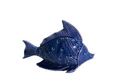 Decorazione Arredo Mare Pesce Ceramica Blu C/Led Piccolo CM13,5x7x12