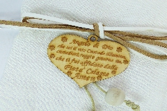 Sacchetto Cuore Legno Preghiera Pz 1 Con Tirante