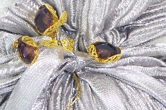 Sacchetto Plisset C/pietre 10x12 Cm Argentato Bomboniera Nozze