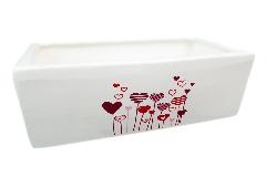 Vaschetta Cuori 18x10x8 Cm Contenitore In Ceramica San Valentino