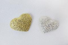 Pz 25 Applicazione Cuore Lamè Bicolore Oro/argento
