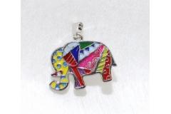 Ciondolo A Elefantino Multicolor In Metallo