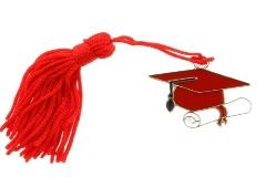 12 Pz Tocco Rosso Metallo Con Nappina Cm 4 Laurea