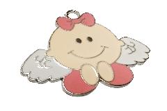 Ciondolo Angelo Metallo Rosa Cm 5 Nascita Bambina
