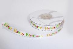 Nastro Happy Birthday Raso Mm 15x25 Mt Bomboniere Fai Da Te