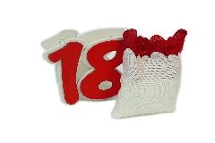 Numero 18 Colorato Legno Con Sacchetto Cotone Per Bomboniere Diciottesimo