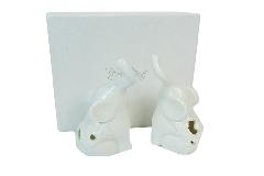 Coppia Elefanti Cm 10 Con Scatola In Porcellana Royal Gifts