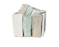 Cesto Listelli Legno Quadrato S/2 Decorazione Floreale Porta Vaso