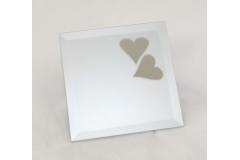 Specchio Quadro Satinato Con Cuori 15x15 Cm