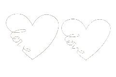 2 Cuori In Metallo Love 67x67 E 48x48 Addobbi Wedding