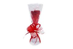 Bomboniera Regalo San Valentino Calice Vetro H.23 Cm Rosa Stabilizzata Rossa