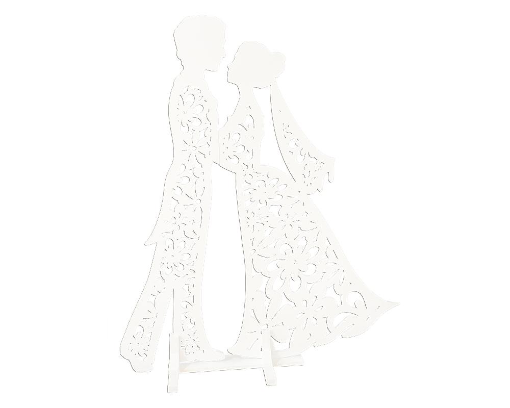 Coppia Sposi Legno Intagliato H.70 Cm Bianco Decorazione Arredo Wedding