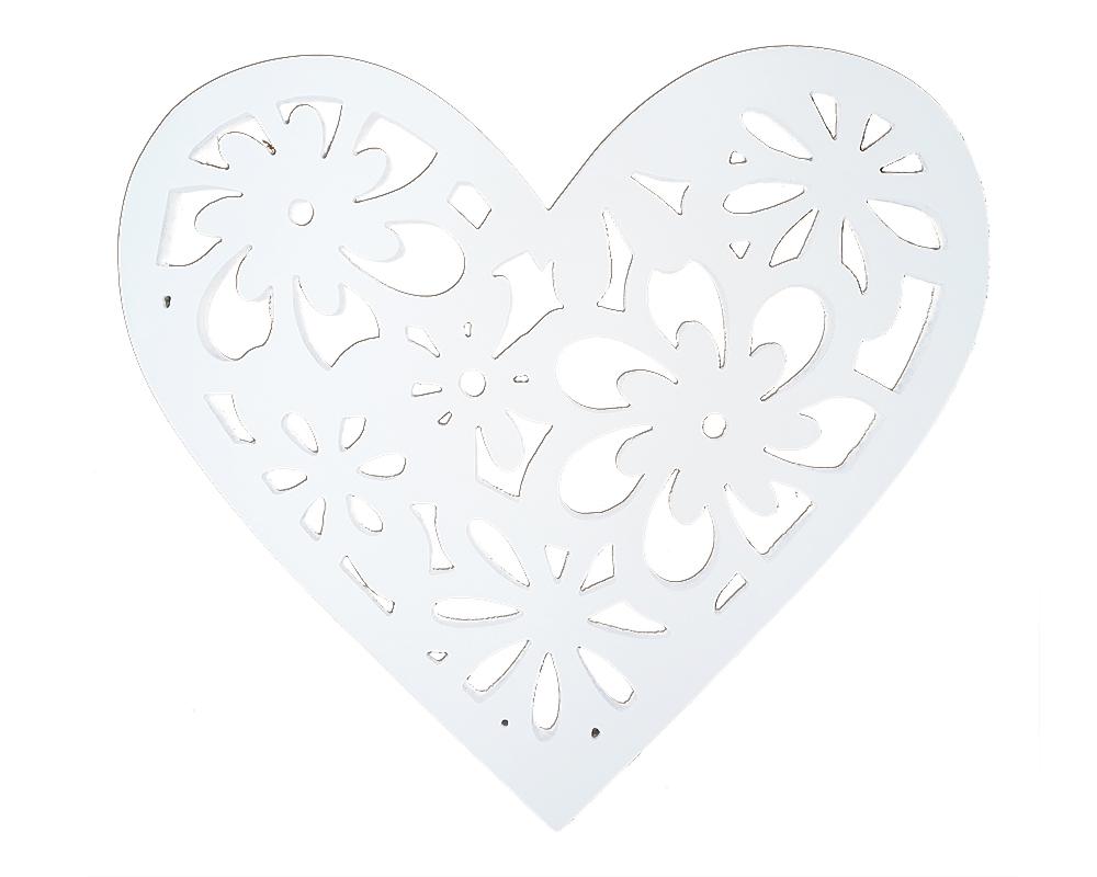 Cuore Legno Intagliato D.50 Cm Bianco Decorazione Arroto Matrimonio Wedding