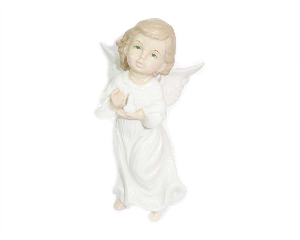Angelo Bianco In Ceramica Smaltata Cm 16 Decoro Arredo Natale