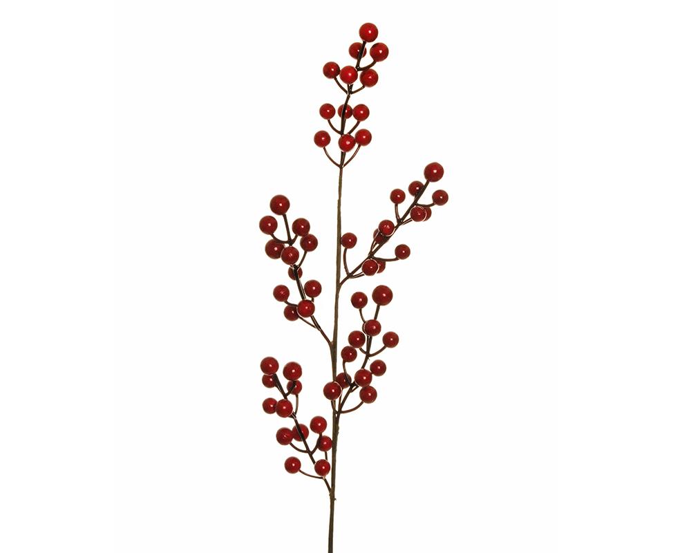 Ramo Bacche Rosse H.65 Cm Decorazione Arredo Natale