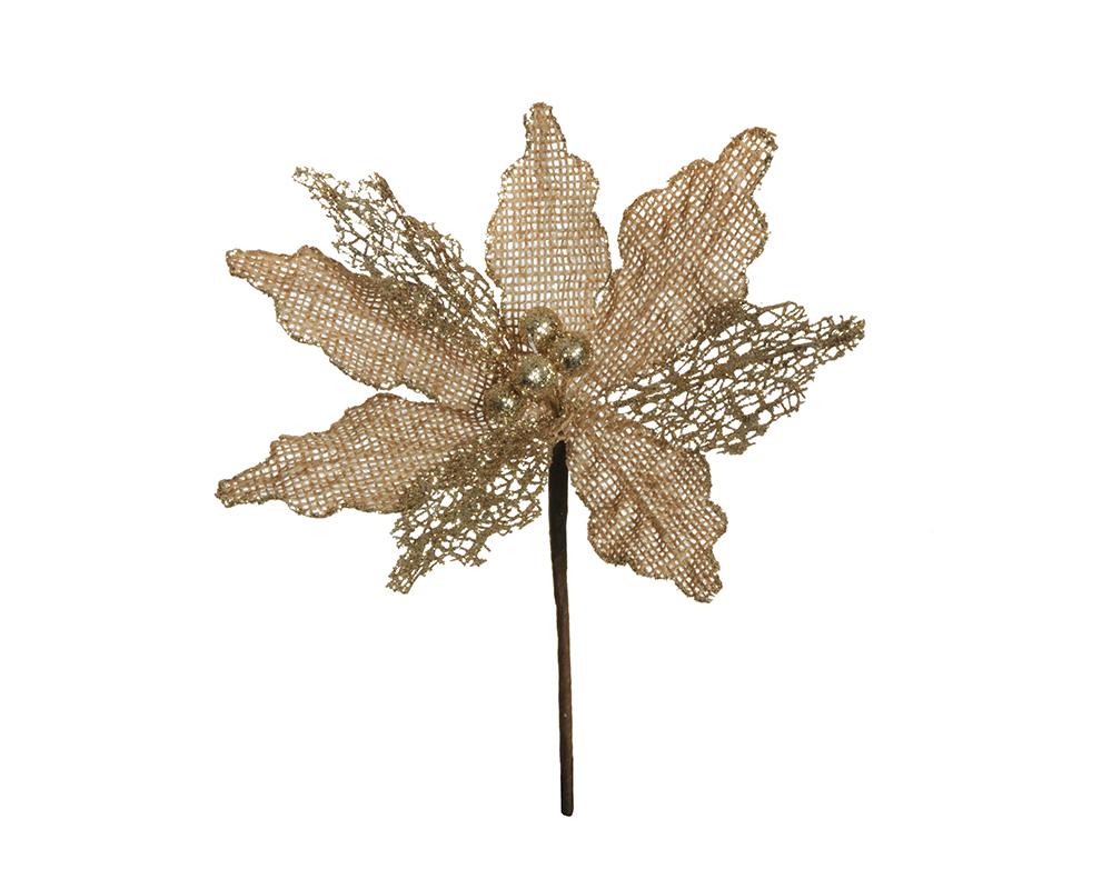 Pick Stella Natale Juta Glitter Oro 26 Cm Arredo Decorazioni Natalizie