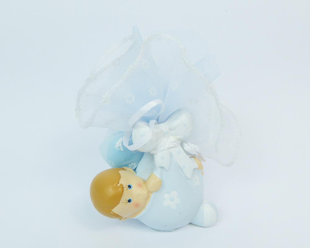 Bomboniere Battesimo Nascita Bimbo In Fasce Celeste Tulle Portaconfetti Con Scatola